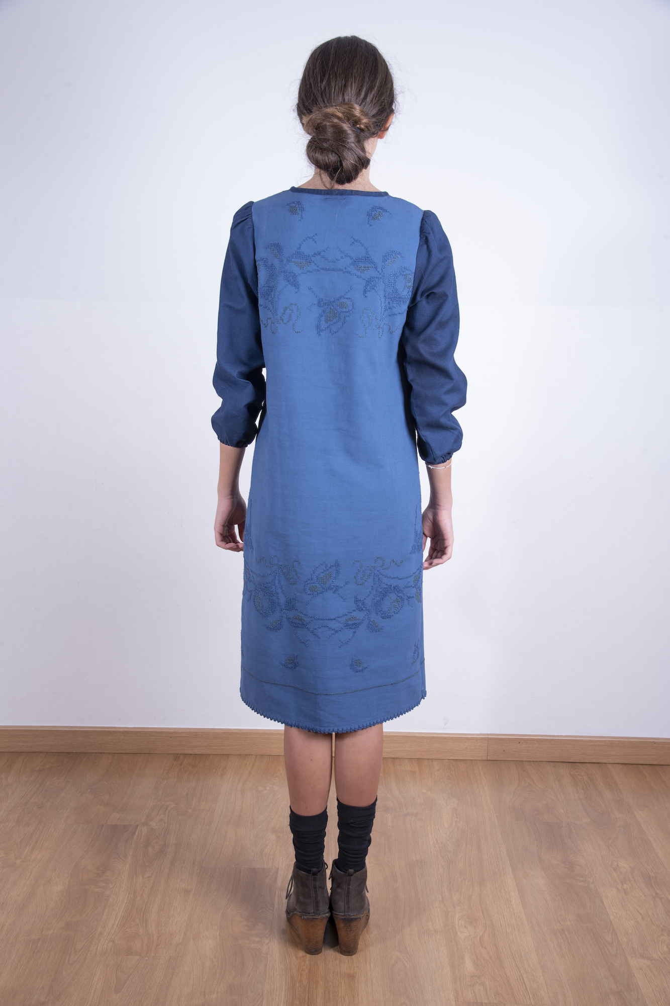 Long navy embroidered dress