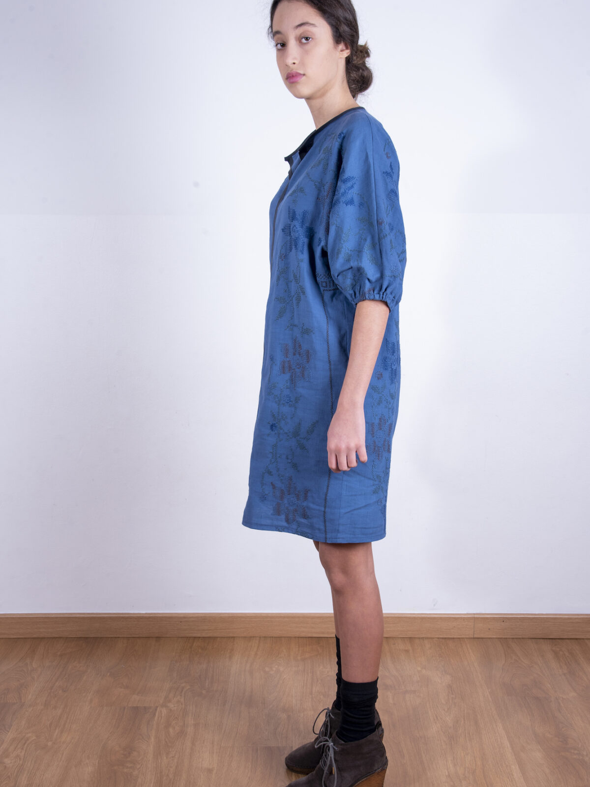 Navy embroidered dress with dolman sleeves