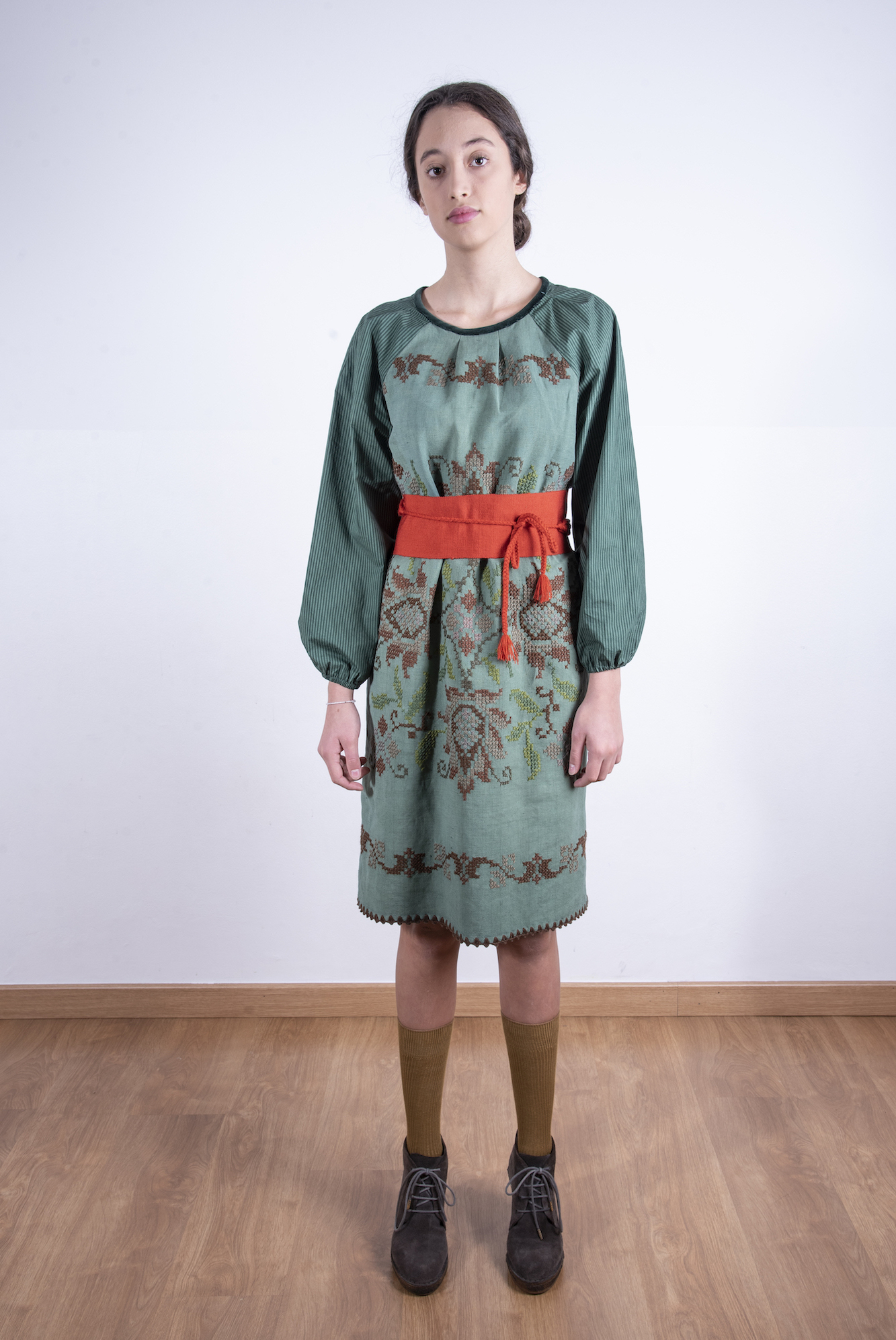 Forest green embroidered front dress