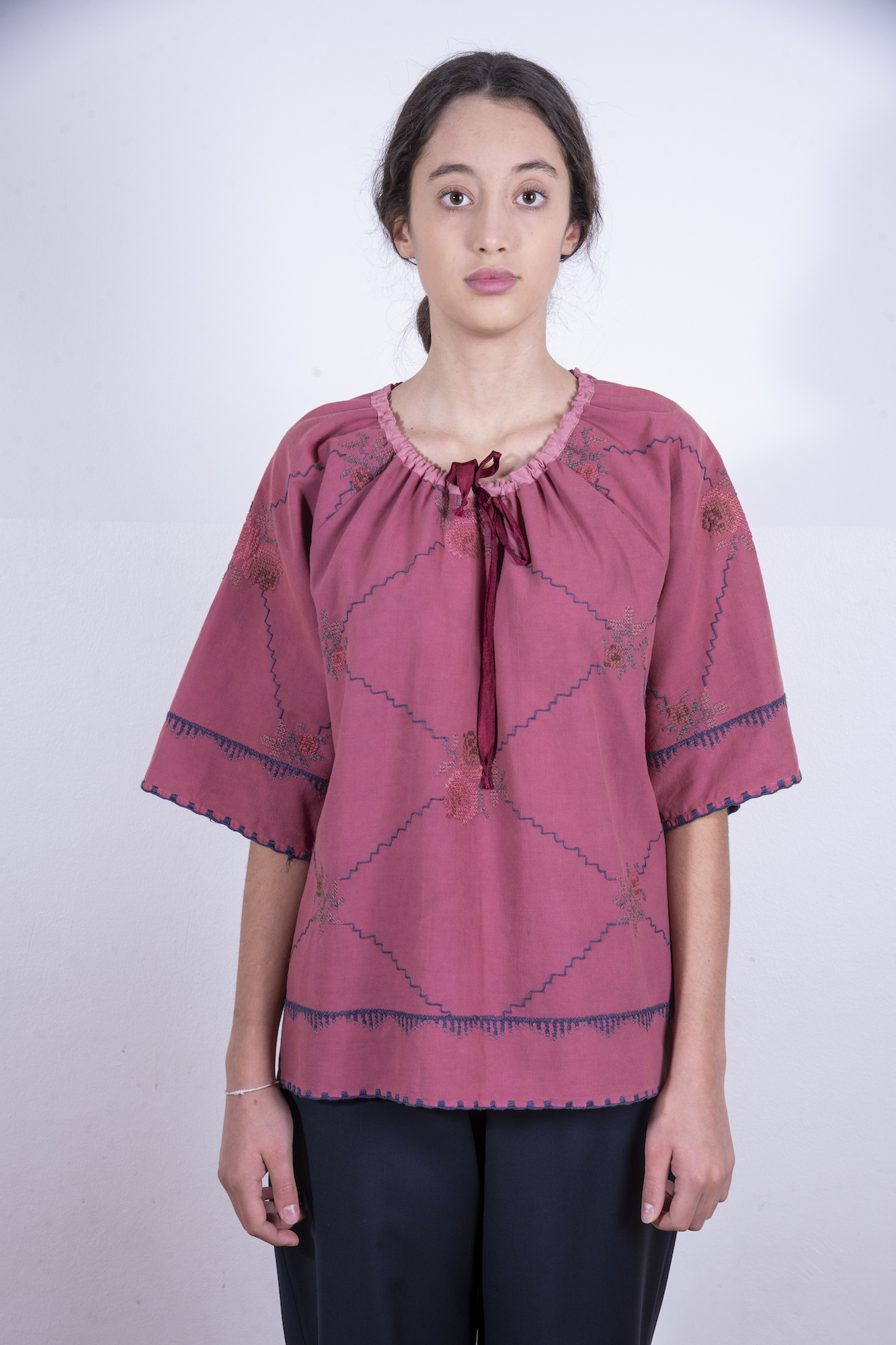 Ruby red tie neck blouse