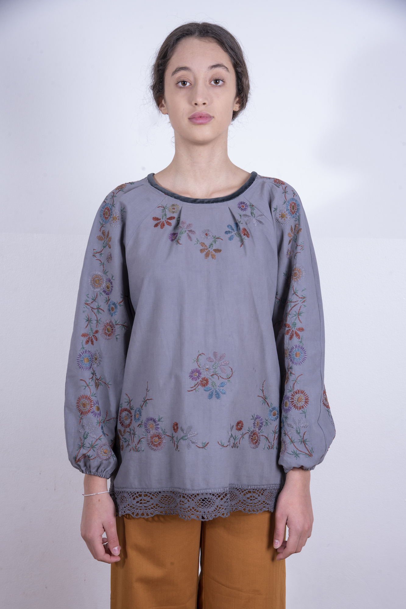 Grey blouse with multicolored embroidery