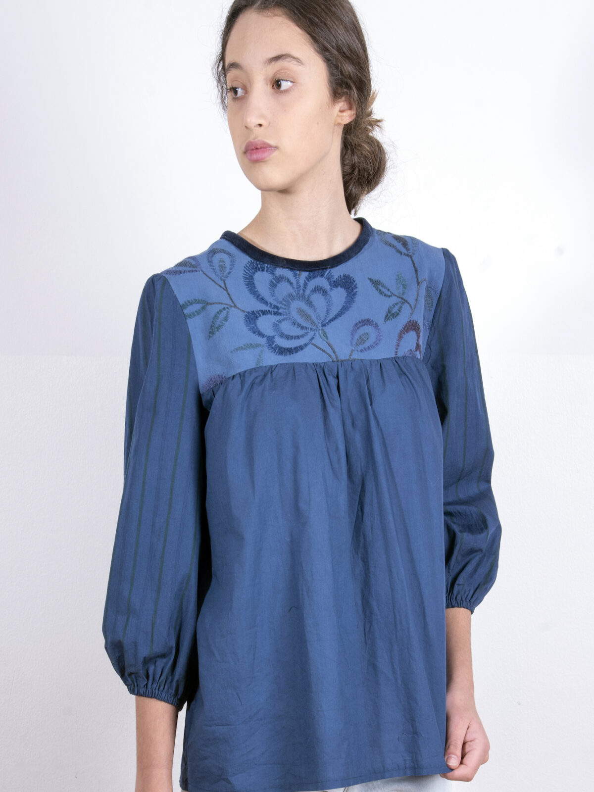 Navy blouse with embroidered yoke