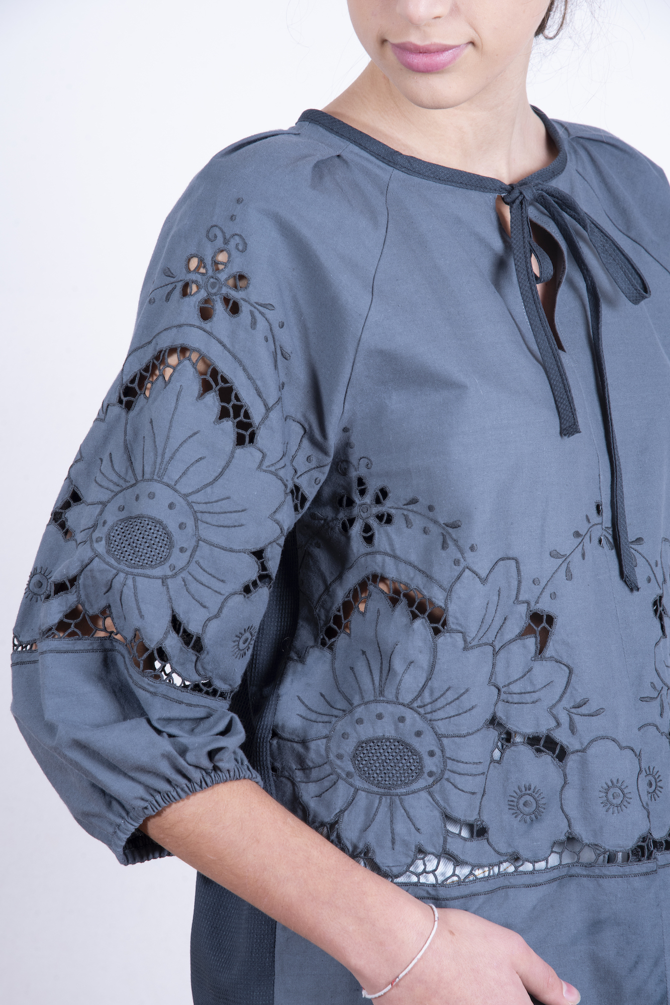 Dark grey blouse with cut out embroidery