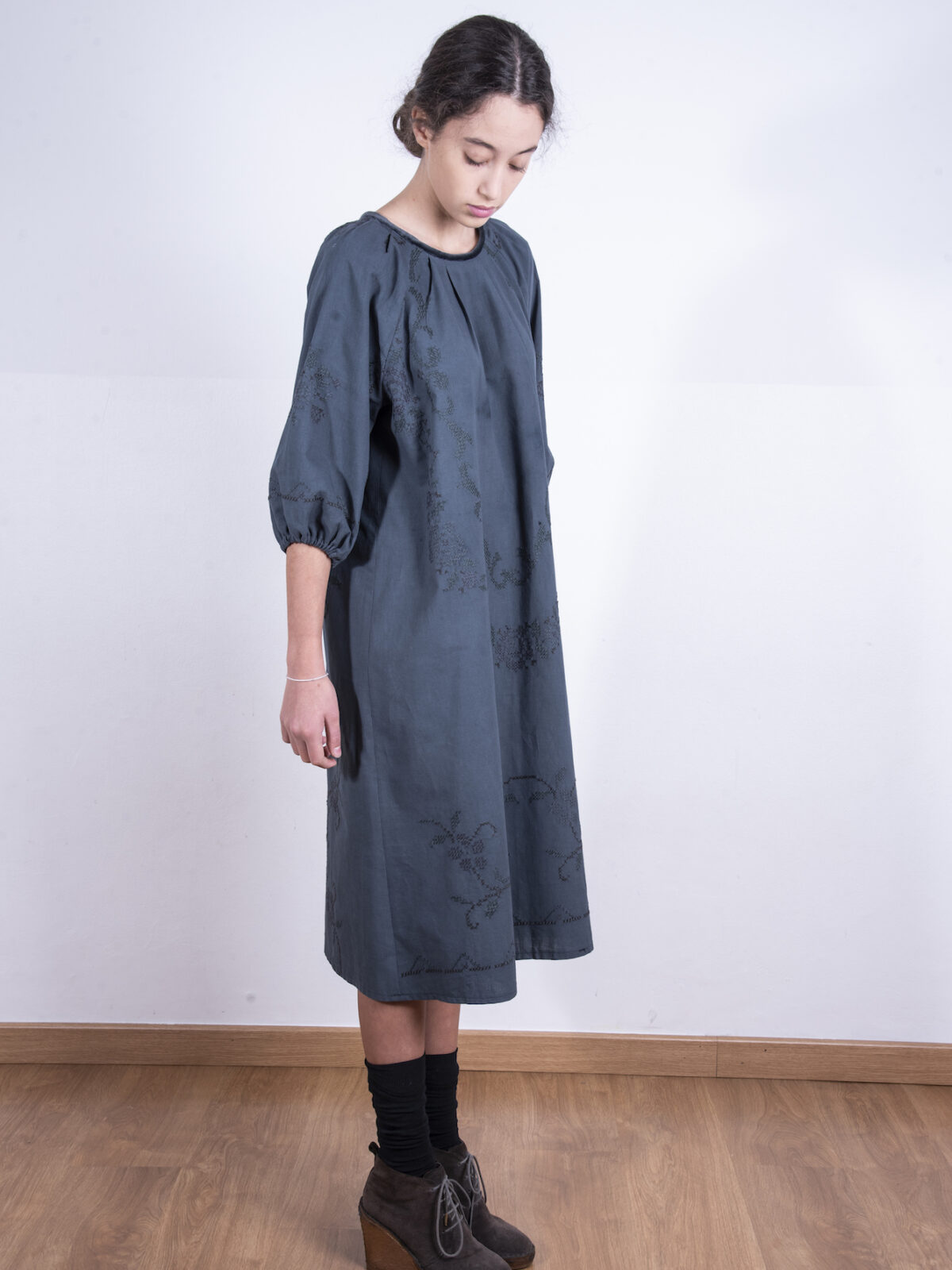 Grey oversized embroidered dress