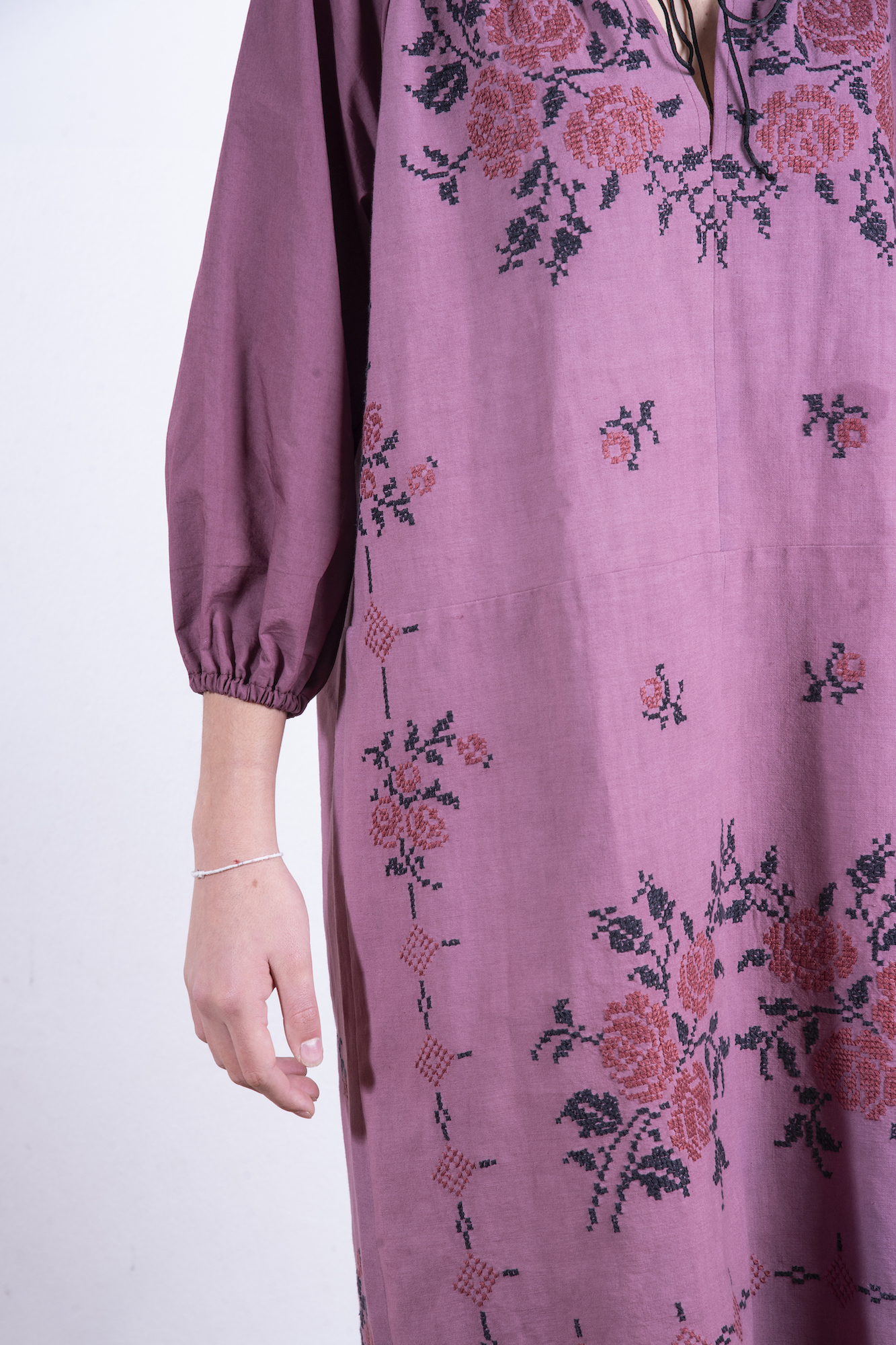 Ruby red hand embroidered dress