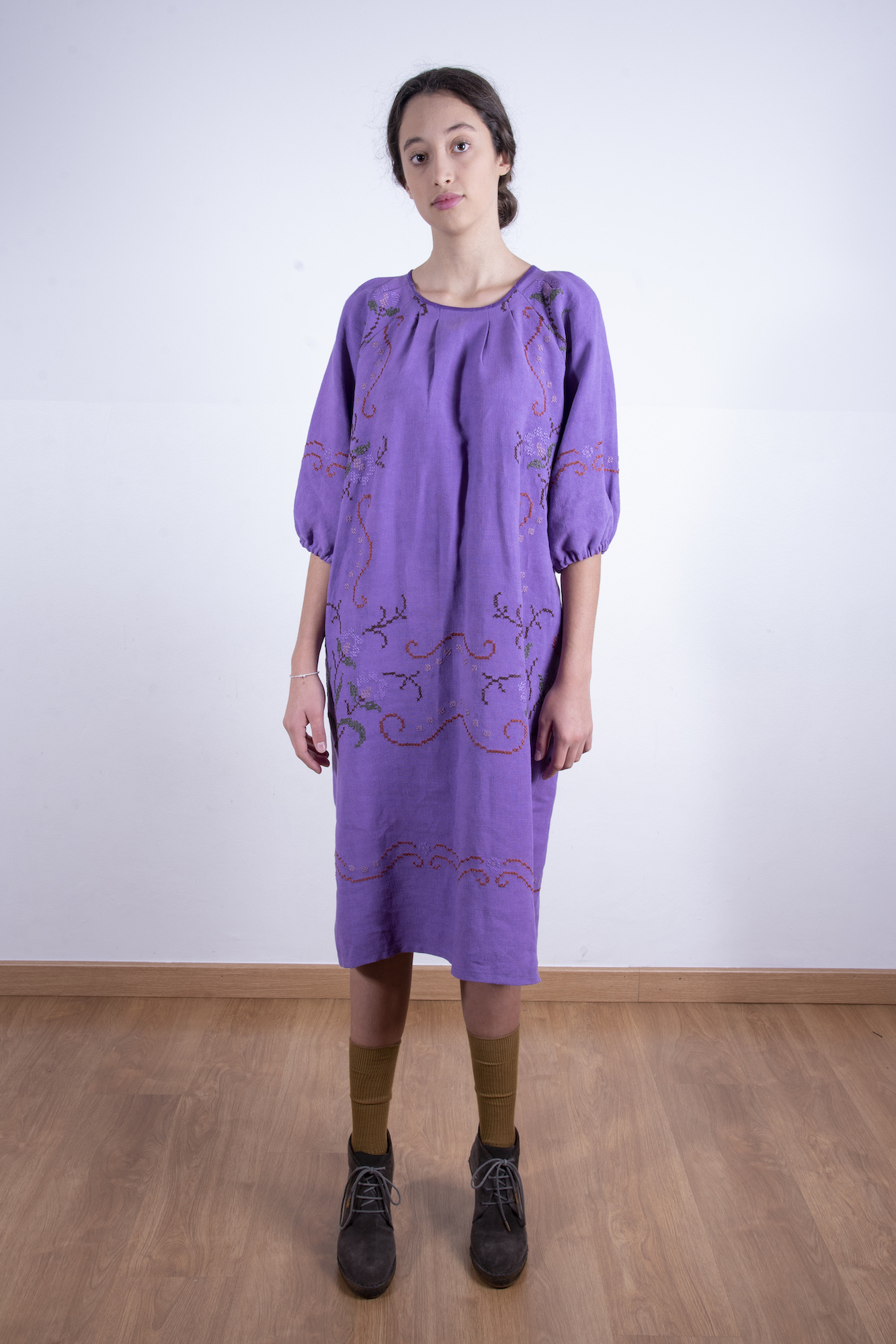 Purple oversized and embroidered dress